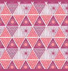 boho style pink triangles seamless pattern vector image