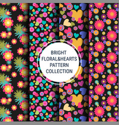bright floral and hearts patterns vector image