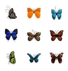 Bright motley butterflies icons set cartoon style vector