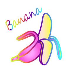 Bright rainbow banana icon vector