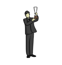 business man holding trophy with two hands vector image