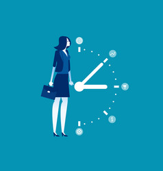 Business woman and time management concept vector