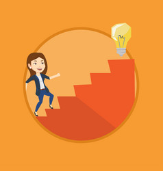 Business woman walking upstairs to the idea bulb vector