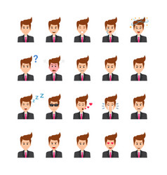 Businessman face expressions flat icons se vector