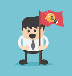 businessman with a red flag and a light bulb vector image