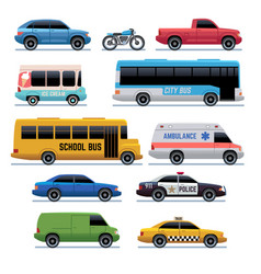 Car flat icons public city transport bus cars vector