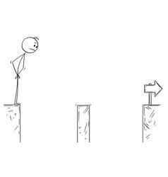 Cartoon businessman facing chasm challenge vector
