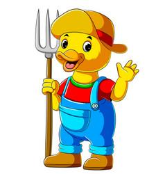 Cartoon farmer duck holding pitchfork vector