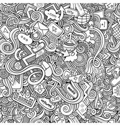 Cartoon hand-drawn doodles Internet social vector image