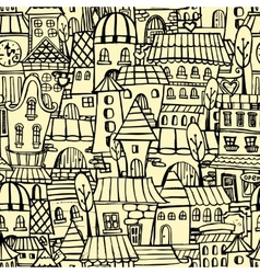 Cartoon town seamless pattern vector image