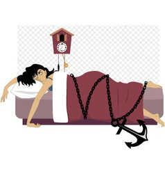 Chained to a bed vector