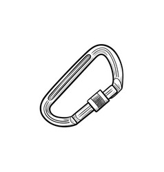 climbing carabiner hand drawn outline doodle icon vector image