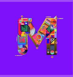 Colorful alphabet font letter m for logo vector