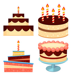 colorful cartoon chocolate cake set vector image