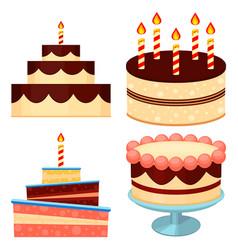 colorful cartoon chocolate cake set vector image