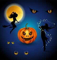 Colorful halloween decorative elements vector image