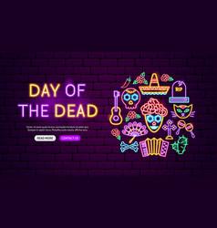 day dead neon banner design vector image