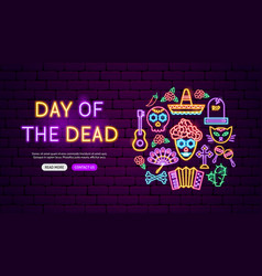 day of the dead neon banner design vector image