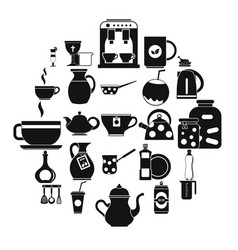 delftware icons set simple style vector image