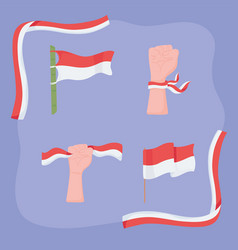 Different shapes indonesia flags vector