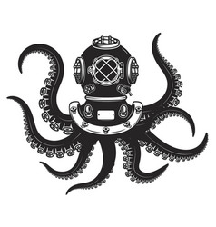 Diver helmet with octopus tentacles isolated vector