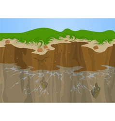 Erosion of cliff vector image