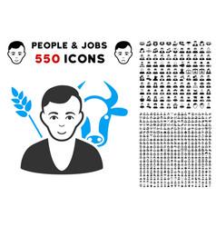 farmer icon with bonus vector image