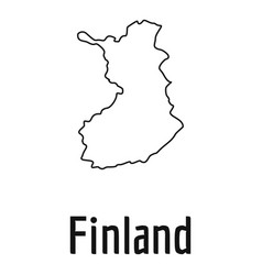 Finland map thin line simple vector