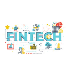 Fintech financial technology word lettering vector