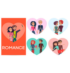 Five portraits of romance pair in shape of heart vector