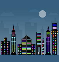 flat design night city vector image
