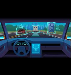 future autonomous vehicle driverless car interior vector image