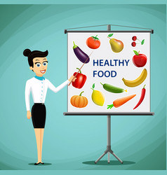 Girl shows on board fruits and vegetables vector