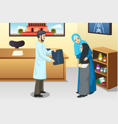 girl with broken arm at doctor office vector image