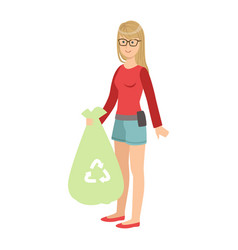 girl with trash bag throwing garbage away cartoon vector image