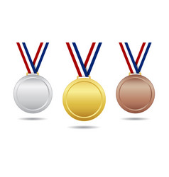 gold bronze and silver medal award with ribbon vector image