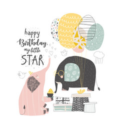 greeting birthday card with cute elephants and vector image