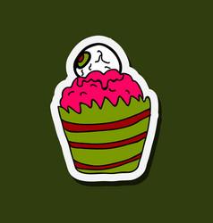 Halloween cupcake on background happy halloween vector