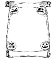 Halloween frame scroll with pumpkins vector