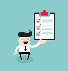 Happy businessman with checklist successful vector