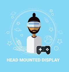 Head mounted display man wearing virtual reality vector