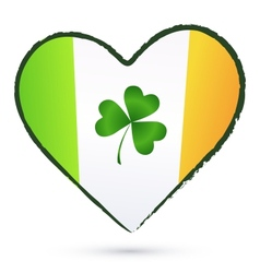Isolated heart with green cliver and Irish flag vector