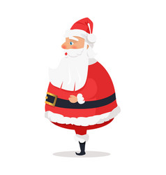 Isolated standing santa claus on white side view vector