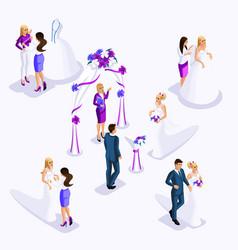 isometry is an exit wedding ceremony the bride an vector image