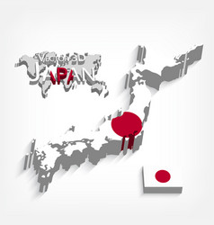 Japan 3d map and flag vector