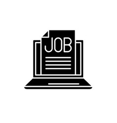 job search online black icon sign on vector image