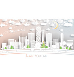 las vegas nevada usa city skyline in paper cut vector image