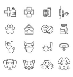linear icons set veterinarian clinic different vector image