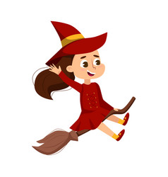 little witch flying on broom cute girl wearing vector image
