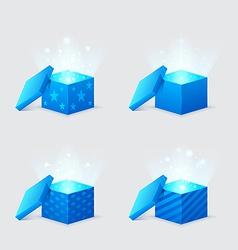 magic light comes from blue gift boxes vector image